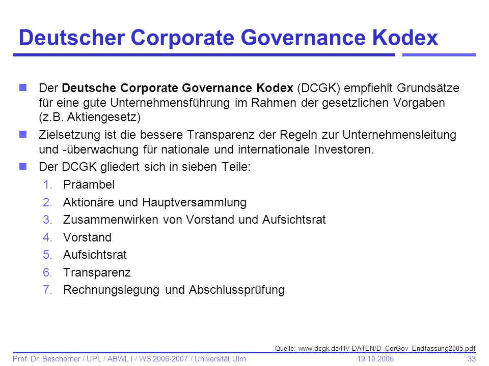 Deutscher Corporate Governance Kodex