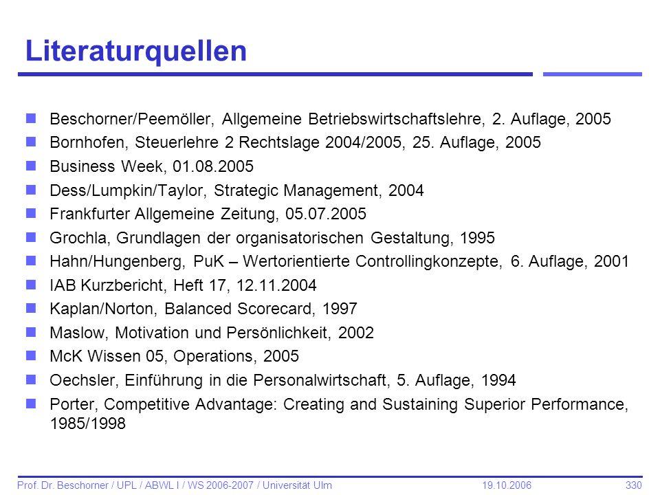 Literaturquellen Beschorner/Peemöller, Allgemeine Betriebswirtschaftslehre, 2. Auflage, 2005.