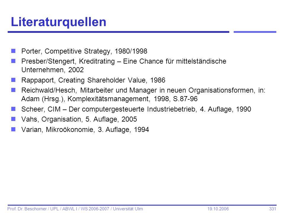 Literaturquellen Porter, Competitive Strategy, 1980/1998