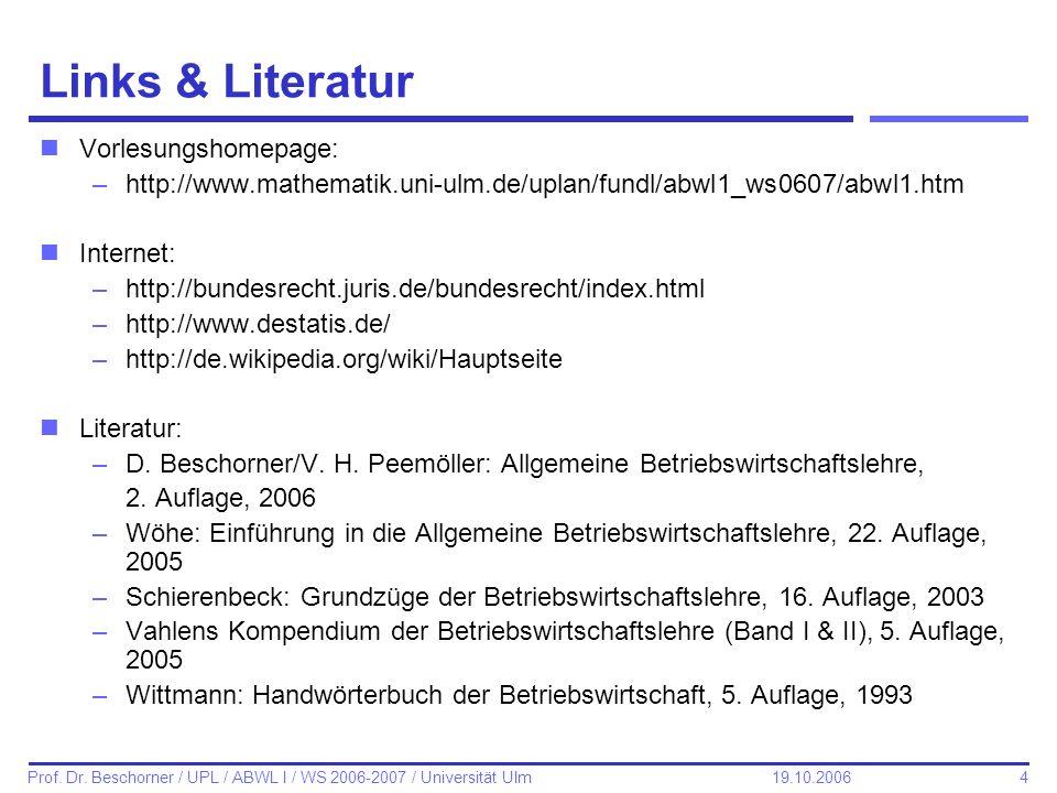 Links & Literatur Vorlesungshomepage: