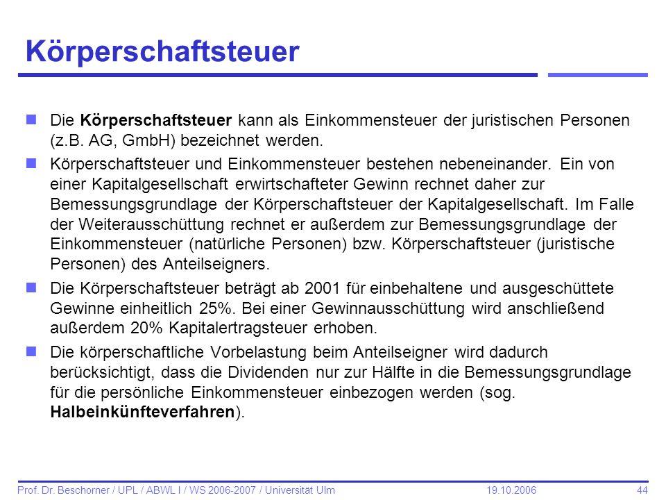 KörperschaftsteuerDie Körperschaftsteuer kann als Einkommensteuer der juristischen Personen (z.B. AG, GmbH) bezeichnet werden.