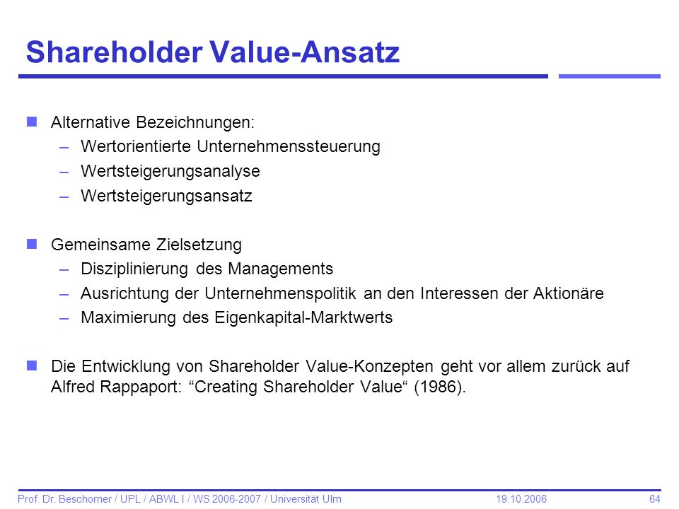Shareholder Value-Ansatz