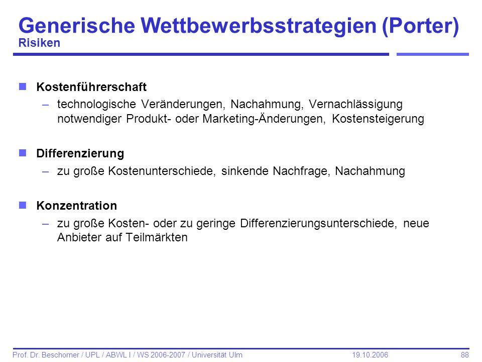 Generische Wettbewerbsstrategien (Porter) Risiken