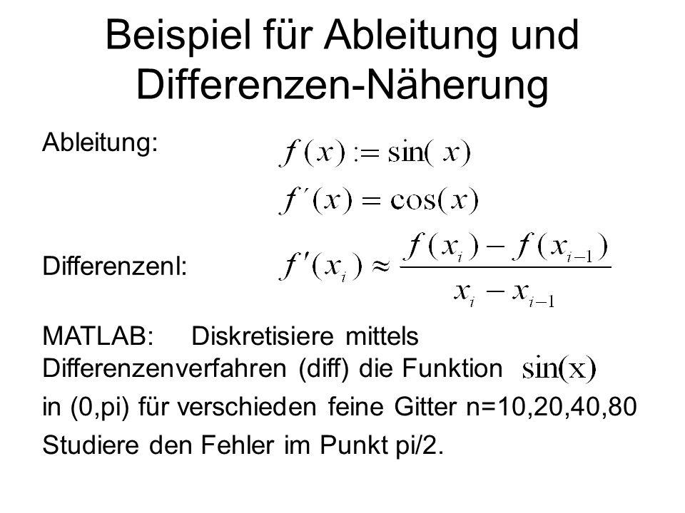 Beispiel für Ableitung und Differenzen-Näherung