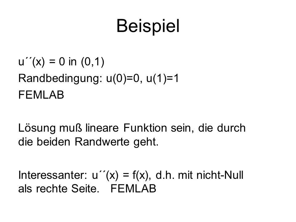 Beispiel u´´(x) = 0 in (0,1) Randbedingung: u(0)=0, u(1)=1 FEMLAB