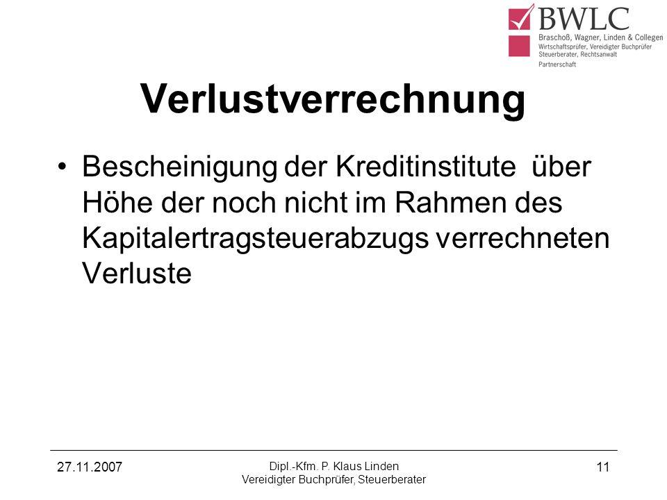 Dipl.-Kfm. P. Klaus Linden Vereidigter Buchprüfer, Steuerberater