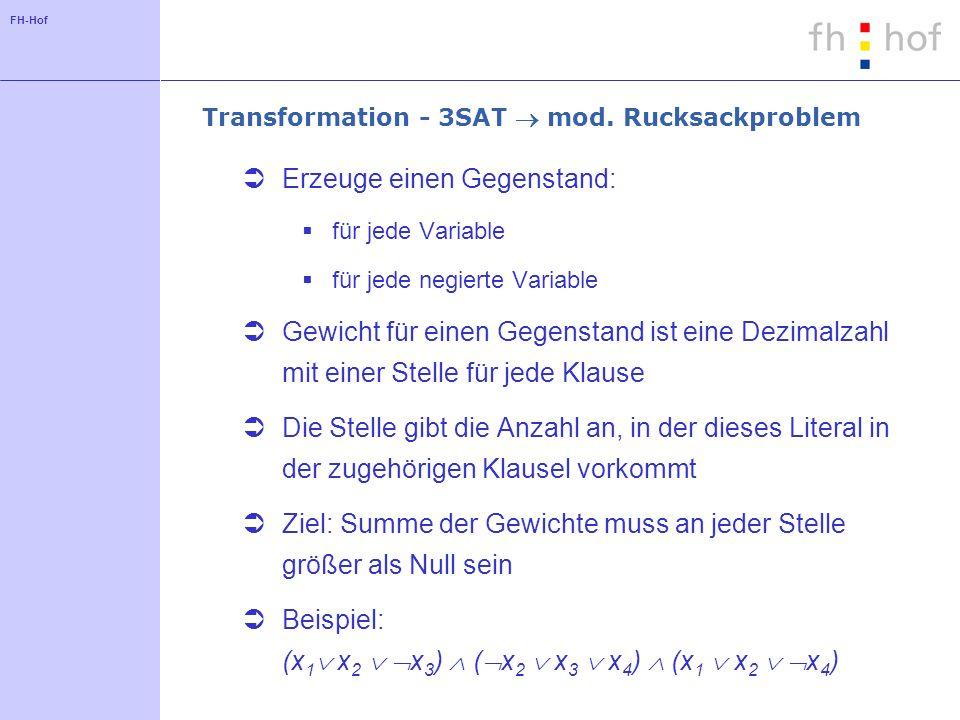 Transformation - 3SAT  mod. Rucksackproblem