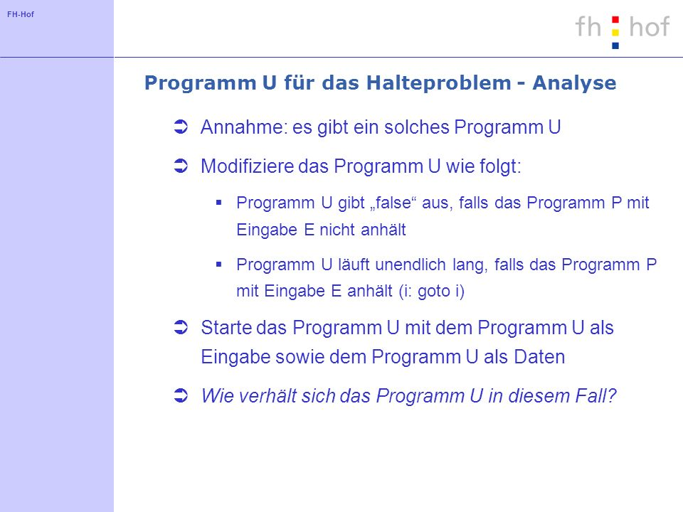 Programm U für das Halteproblem - Analyse