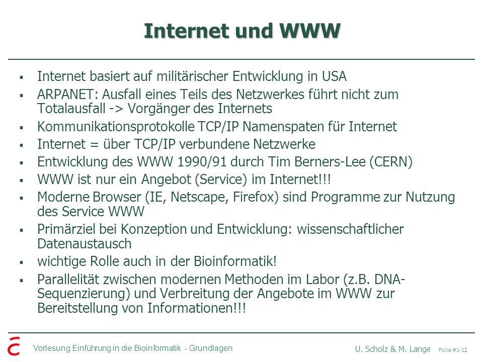 Internet und WWW Internet basiert auf militärischer Entwicklung in USA