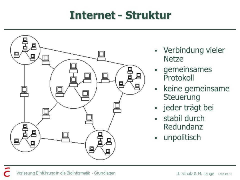 Internet - Struktur Verbindung vieler Netze gemeinsames Protokoll