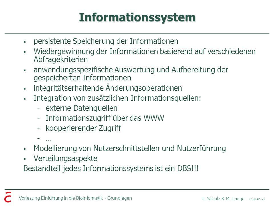 Informationssystem persistente Speicherung der Informationen