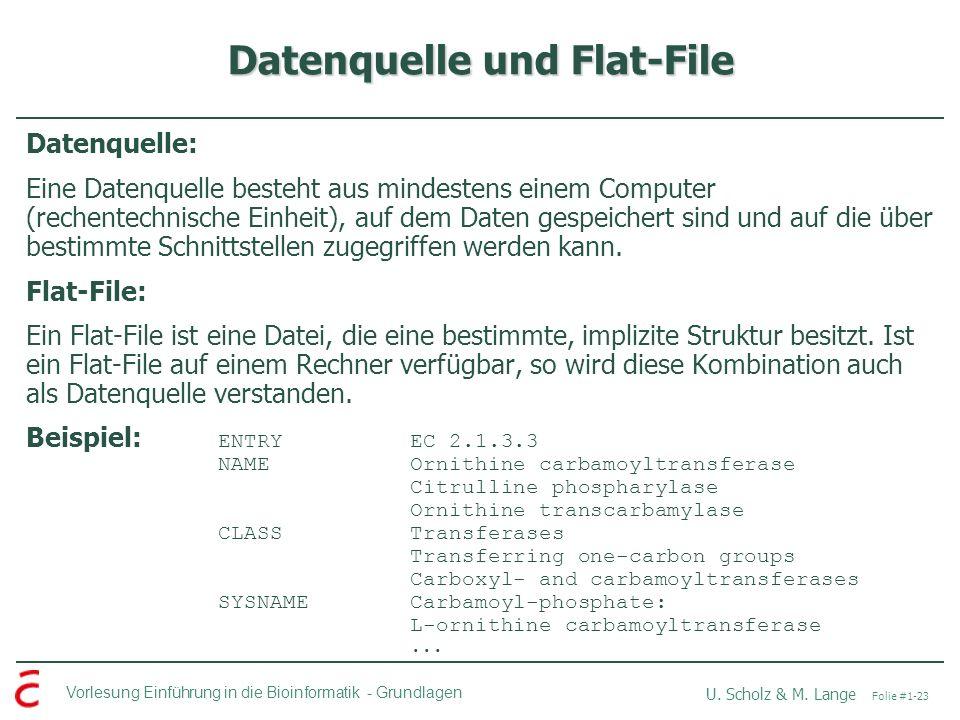 Datenquelle und Flat-File