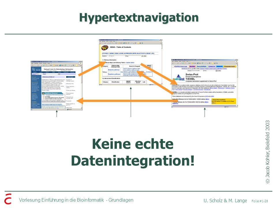 Keine echte Datenintegration!