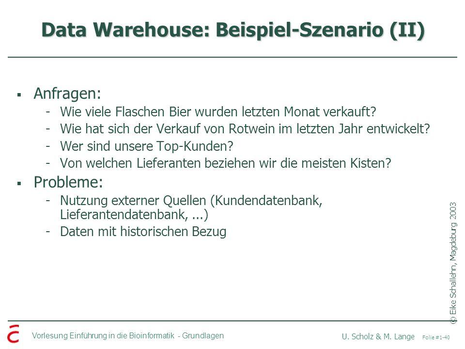 Data Warehouse: Beispiel-Szenario (II)