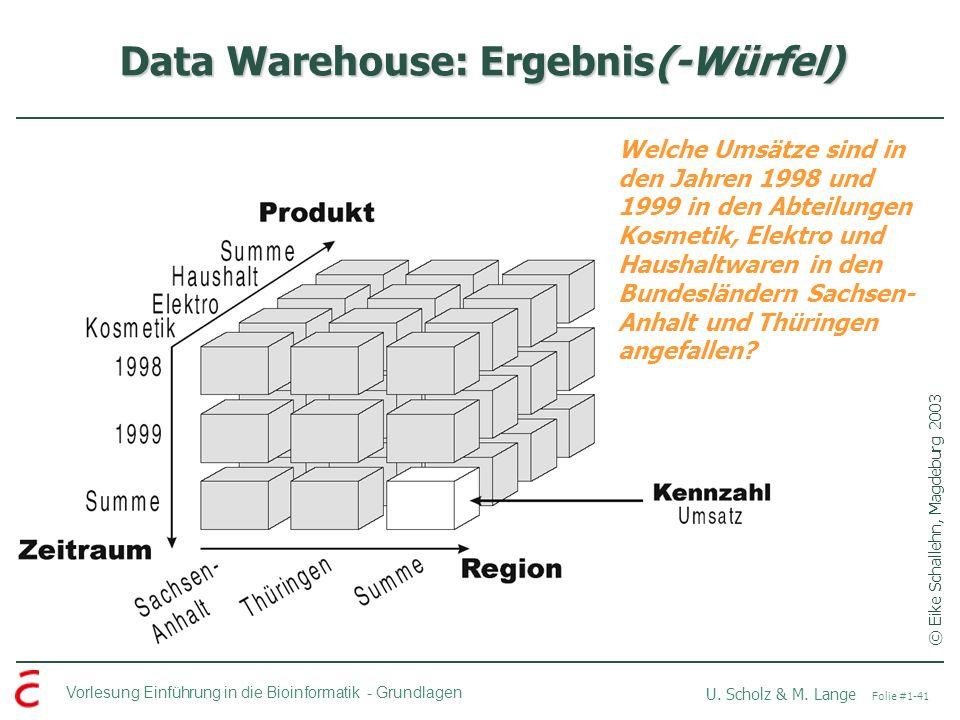 Data Warehouse: Ergebnis(-Würfel)