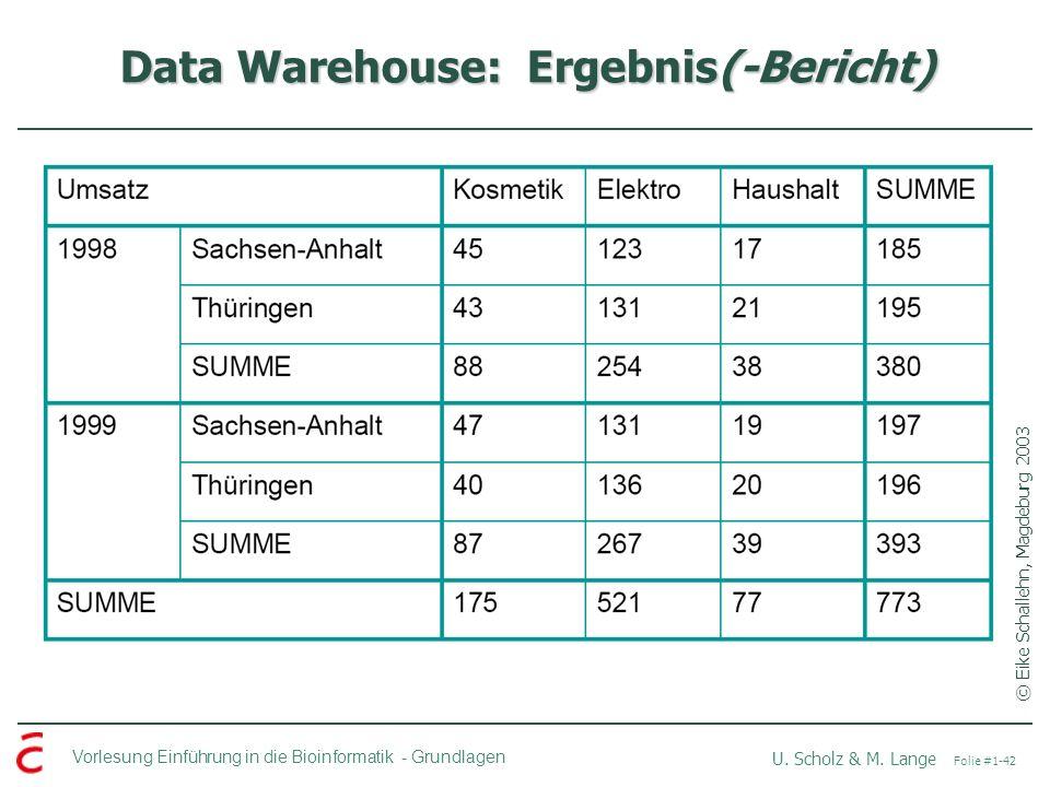 Data Warehouse: Ergebnis(-Bericht)