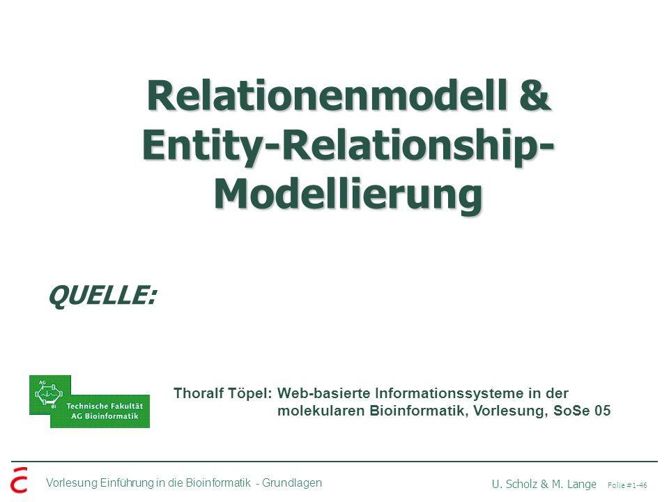 Relationenmodell & Entity-Relationship-Modellierung