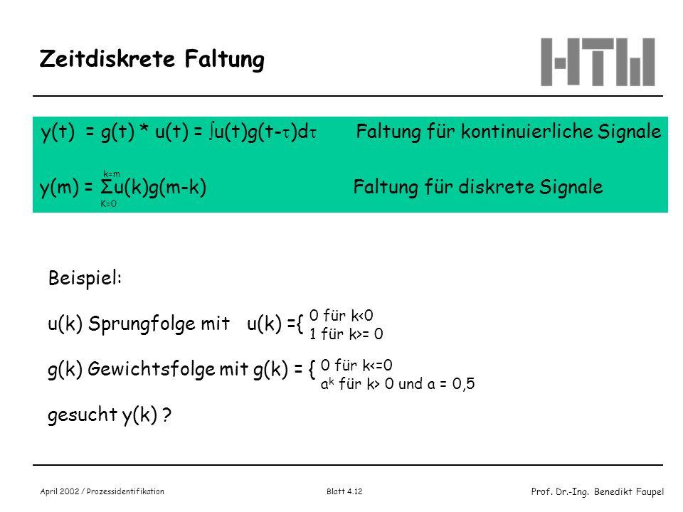 Zeitdiskrete Faltung y(t) = g(t) * u(t) = u(t)g(t-)d Faltung für kontinuierliche Signale.