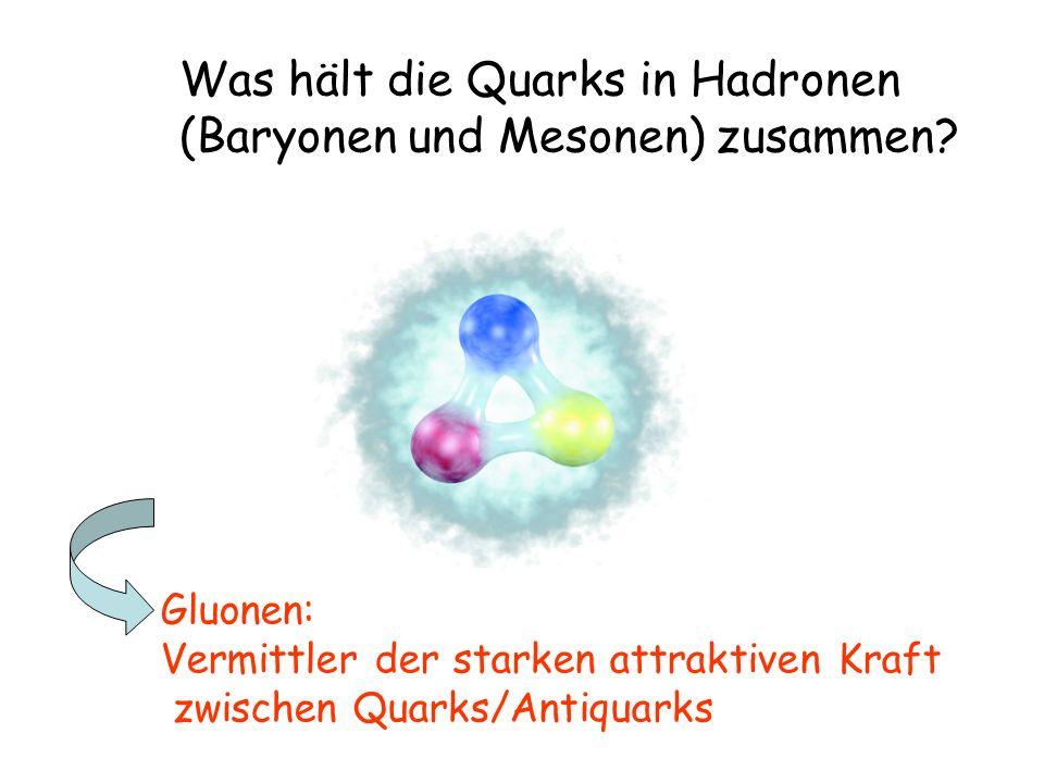 Was hält die Quarks in Hadronen (Baryonen und Mesonen) zusammen