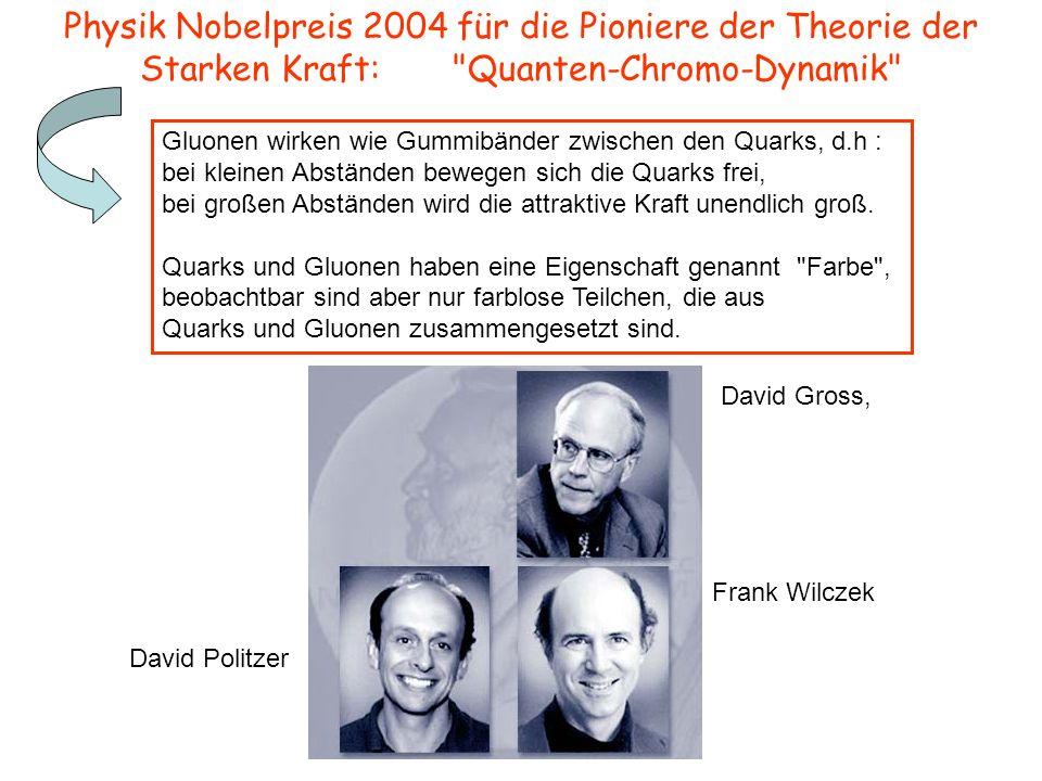 Physik Nobelpreis 2004 für die Pioniere der Theorie der Starken Kraft: Quanten-Chromo-Dynamik