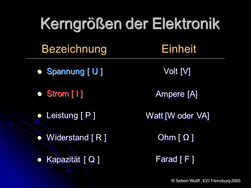Kerngrößen der Elektronik