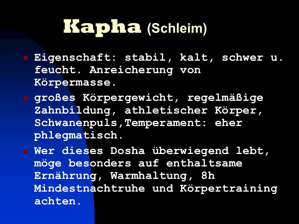 Kapha (Schleim)Eigenschaft: stabil, kalt, schwer u. feucht. Anreicherung von Körpermasse.