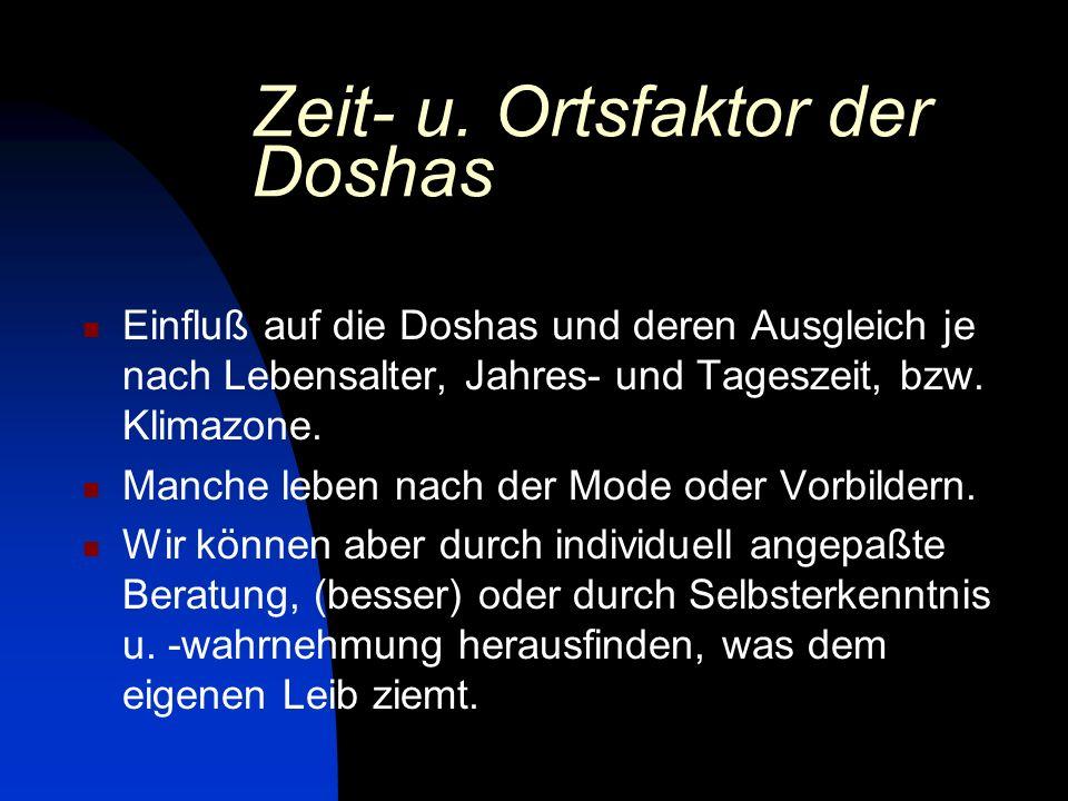 Zeit- u. Ortsfaktor der Doshas