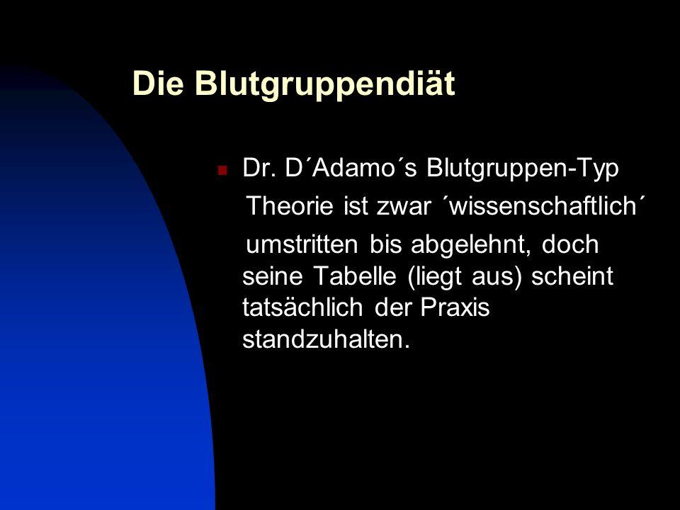 Die Blutgruppendiät Dr. D´Adamo´s Blutgruppen-Typ
