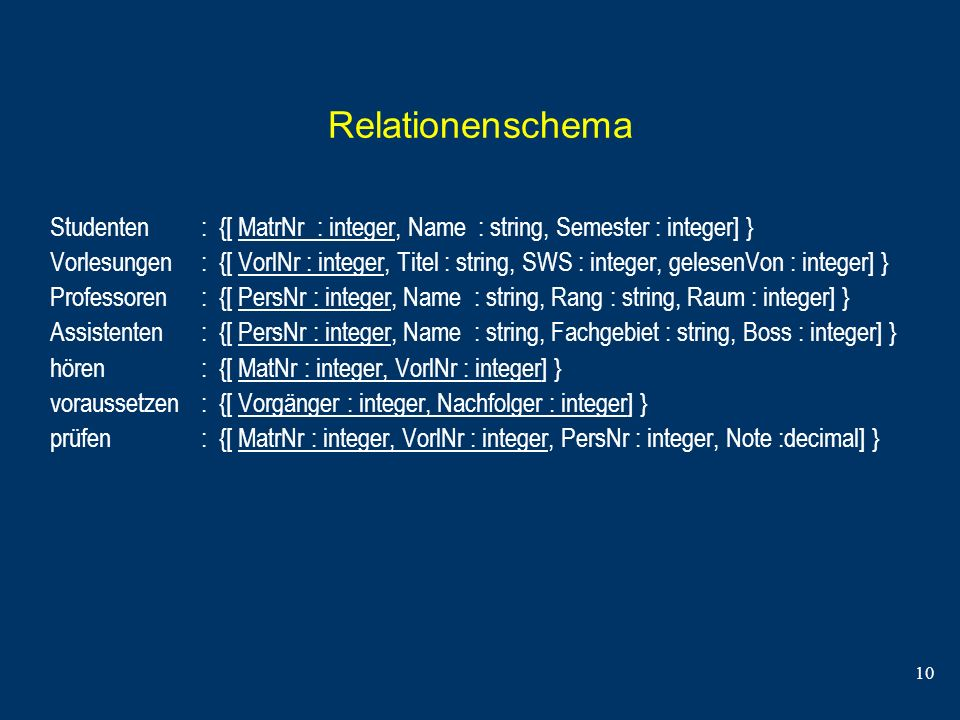 Relationenschema Studenten : {[ MatrNr : integer, Name : string, Semester : integer] }