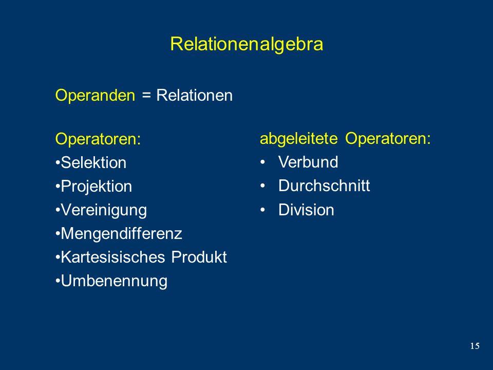 Relationenalgebra Operanden = Relationen Operatoren: Selektion
