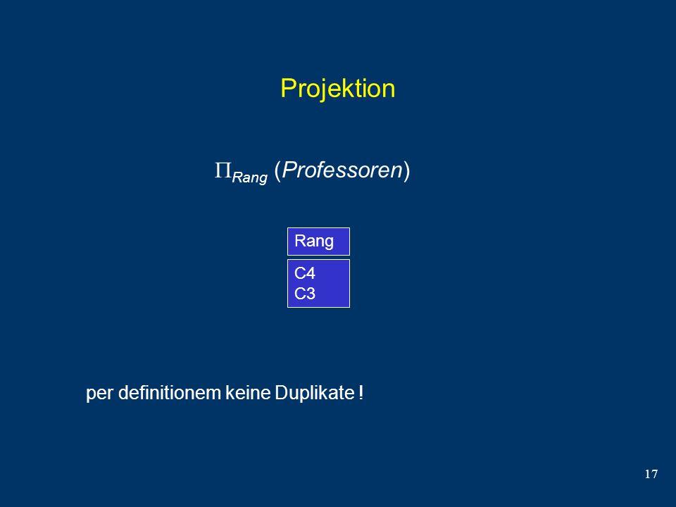 Projektion Rang (Professoren) per definitionem keine Duplikate ! Rang