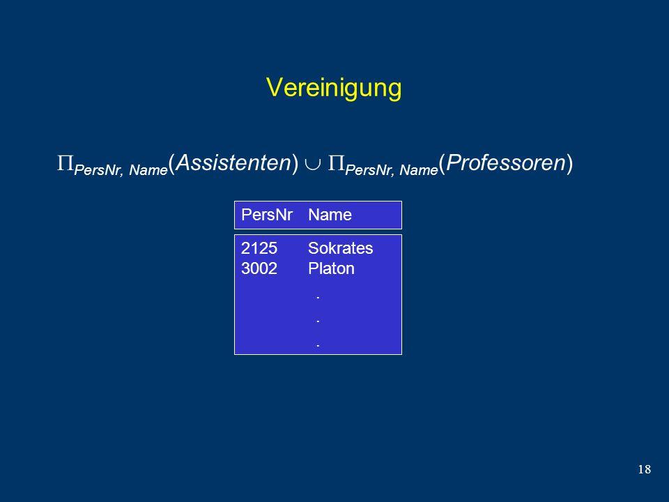 Vereinigung PersNr, Name(Assistenten)  PersNr, Name(Professoren)