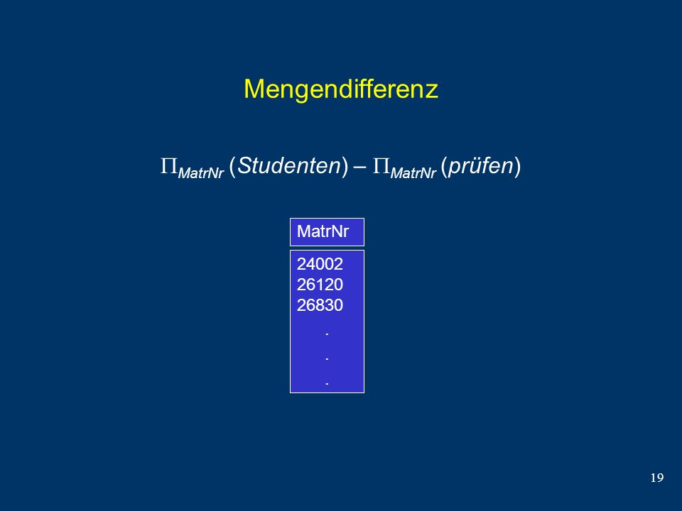 Mengendifferenz MatrNr (Studenten) – MatrNr (prüfen) MatrNr