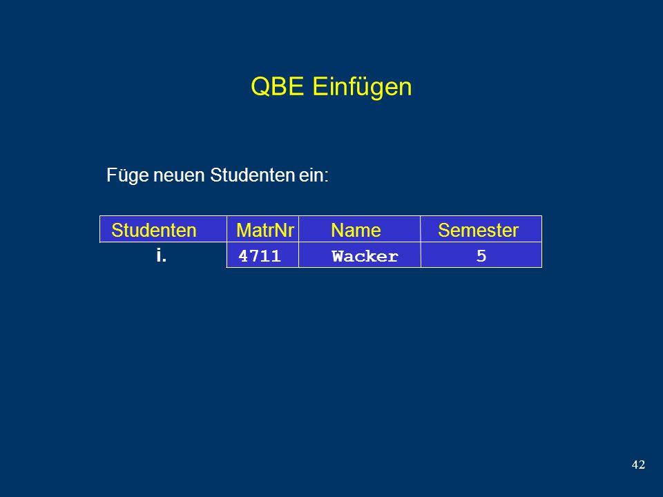 QBE Einfügen Füge neuen Studenten ein: Studenten MatrNr Name Semester