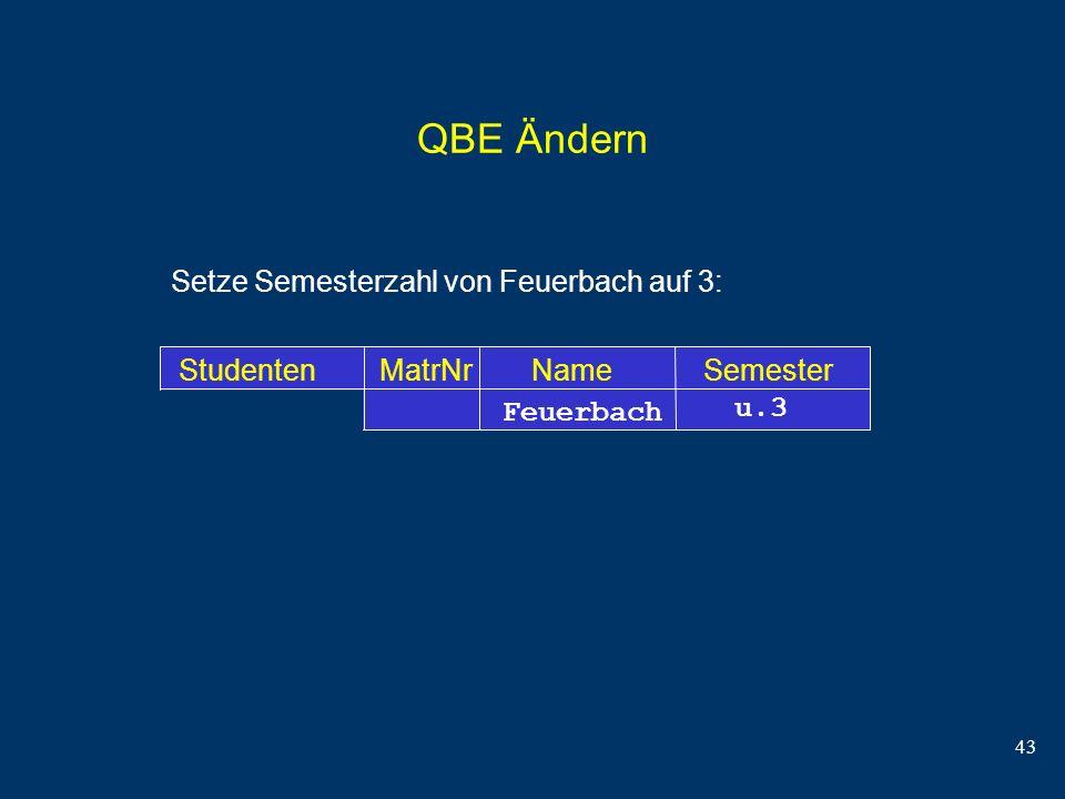 QBE Ändern Setze Semesterzahl von Feuerbach auf 3:
