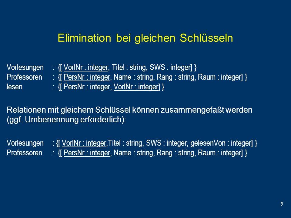 Elimination bei gleichen Schlüsseln