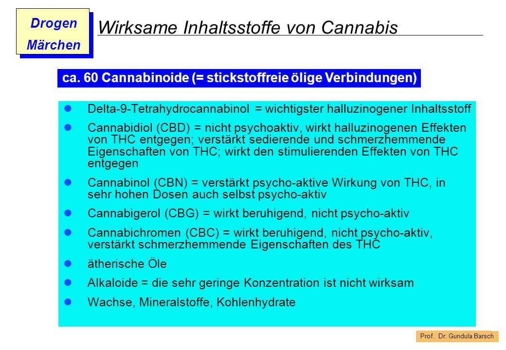 Wirksame Inhaltsstoffe von Cannabis