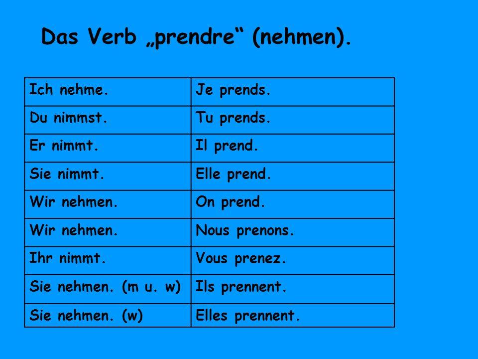 """Das Verb """"prendre (nehmen)."""