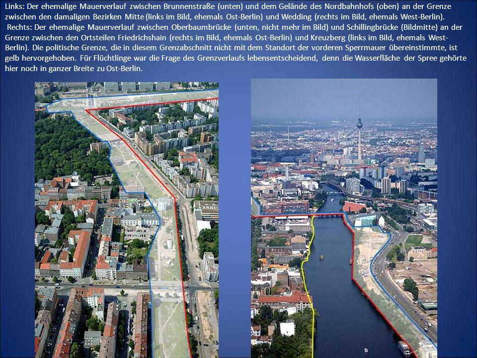 Links: Der ehemalige Mauerverlauf zwischen Brunnenstraße (unten) und dem Gelände des Nordbahnhofs (oben) an der Grenze zwischen den damaligen Bezirken Mitte (links im Bild, ehemals Ost-Berlin) und Wedding (rechts im Bild, ehemals West-Berlin).