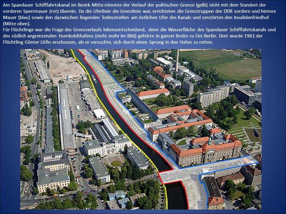 Am Spandauer Schifffahrtskanal im Bezirk Mitte stimmte der Verlauf der politischen Grenze (gelb) nicht mit dem Standort der vorderen Sperrmauer (rot) überein.