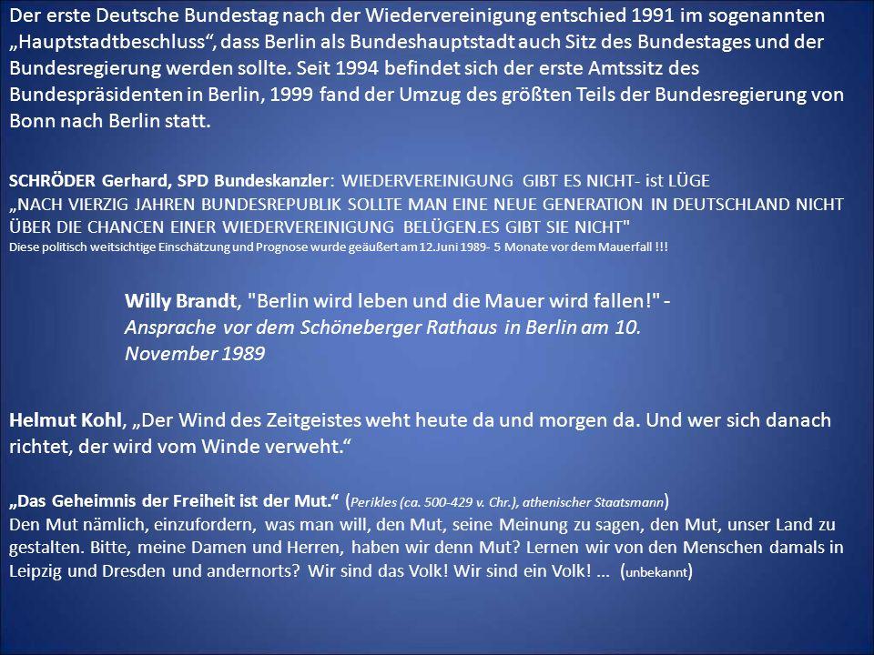 """Der erste Deutsche Bundestag nach der Wiedervereinigung entschied 1991 im sogenannten """"Hauptstadtbeschluss , dass Berlin als Bundeshauptstadt auch Sitz des Bundestages und der Bundesregierung werden sollte. Seit 1994 befindet sich der erste Amtssitz des Bundespräsidenten in Berlin, 1999 fand der Umzug des größten Teils der Bundesregierung von Bonn nach Berlin statt."""