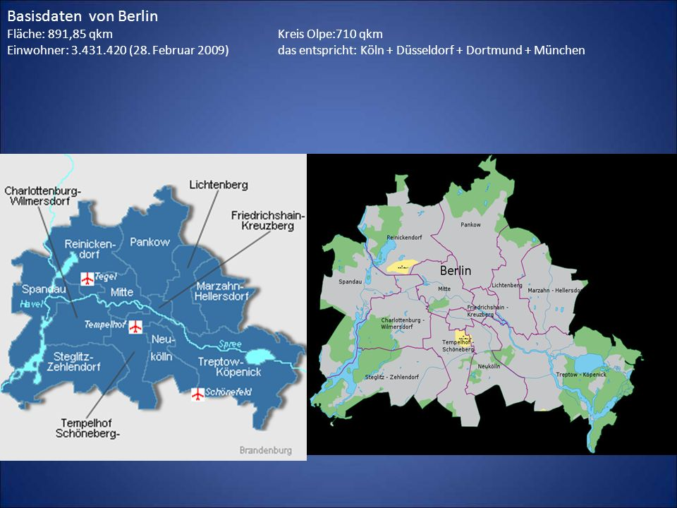 Basisdaten von Berlin Fläche: 891,85 qkm