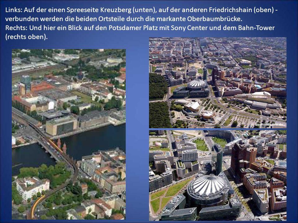 Links: Auf der einen Spreeseite Kreuzberg (unten), auf der anderen Friedrichshain (oben) - verbunden werden die beiden Ortsteile durch die markante Oberbaumbrücke.