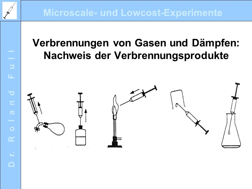Verbrennungen von Gasen und Dämpfen: Nachweis der Verbrennungsprodukte