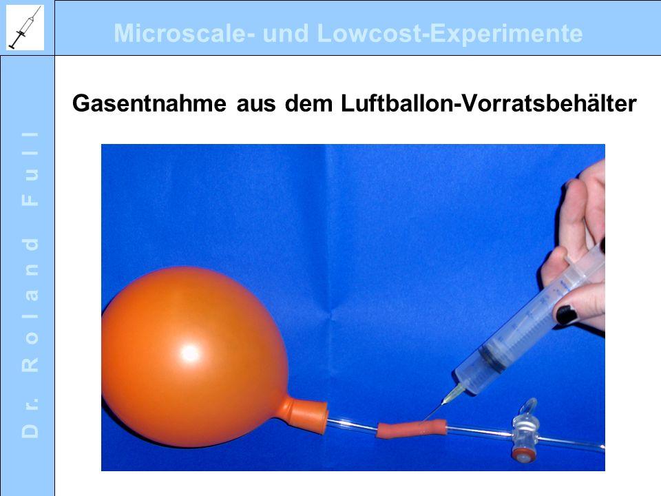 Gasentnahme aus dem Luftballon-Vorratsbehälter
