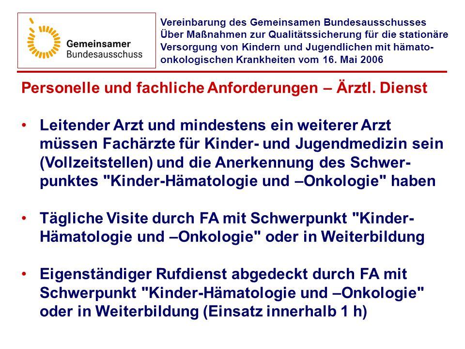 Personelle und fachliche Anforderungen – Ärztl. Dienst