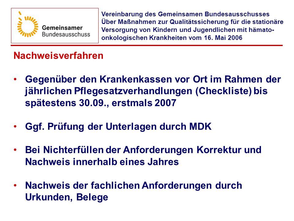 Ggf. Prüfung der Unterlagen durch MDK