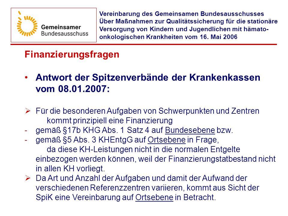 Antwort der Spitzenverbände der Krankenkassen vom 08.01.2007: