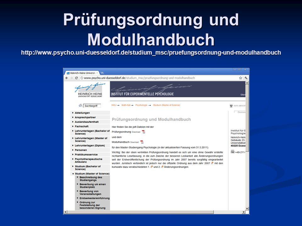 Prüfungsordnung und Modulhandbuch http://www. psycho. uni-duesseldorf