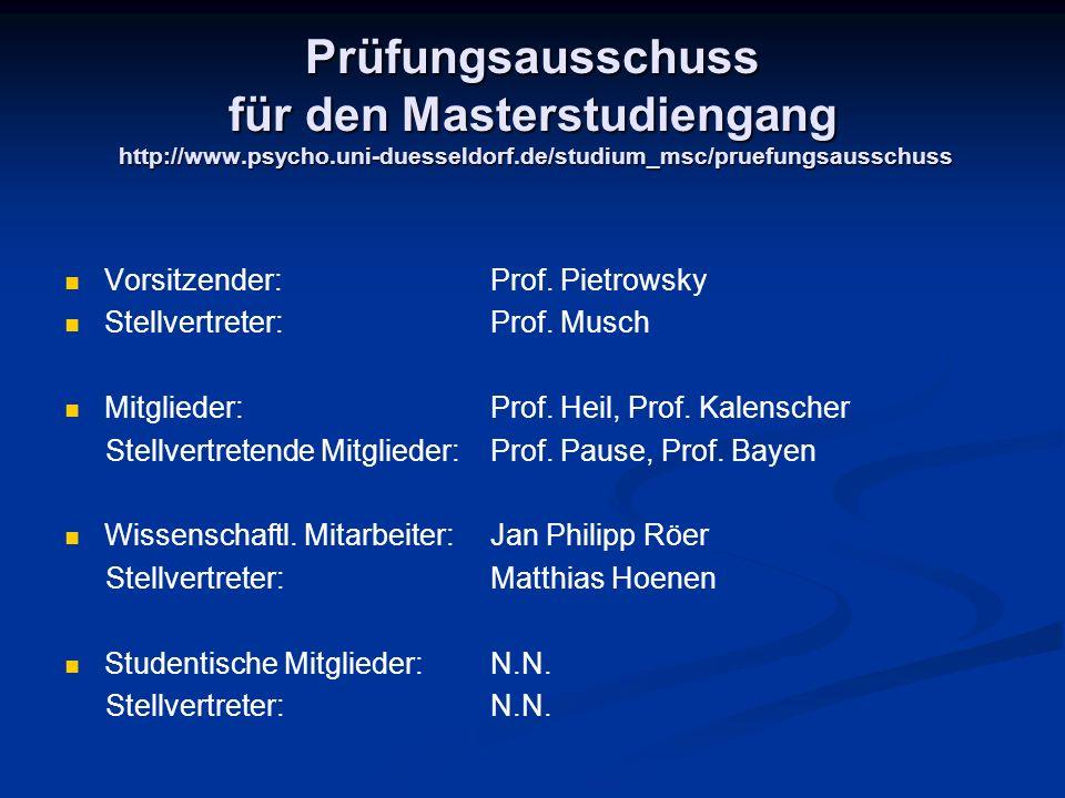 Prüfungsausschuss für den Masterstudiengang http://www. psycho